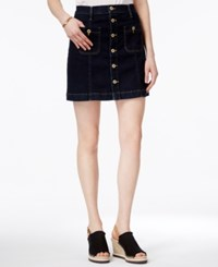 Tommy Hilfiger Button Front Denim Skirt Only At Macy's Dark Rinse