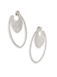 Adriana Orsini Pave Crystal Oval Hoop Earrings 1.5 Silver