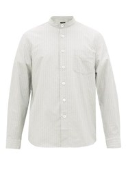A.P.C. Alejandro Band Collar Striped Cotton Shirt Light Blue