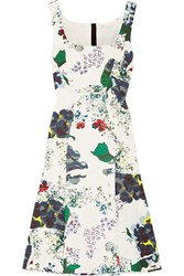 Erdem Tate Floral Print Tech Jersey Dress White Green