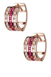 18K Rose Gold Plated Sterling Silver Channel Cz Huggie Earrings Metallic