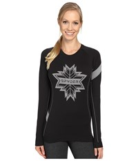 Spyder Crest Top Black White Women's Long Sleeve Pullover