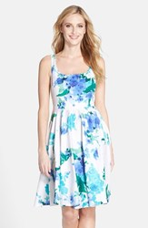 Women's Donna Ricco Floral Print Fit And Flare Dress