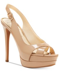 Jessica Simpson Willey Slingback Platform Dress Sandals Women's Shoes Nude Patent