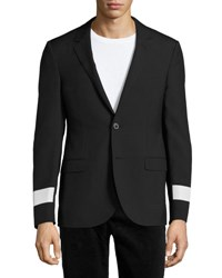 Lanvin Slim Fit Two Button Sport Jacket With Reflective Arm Bands Black