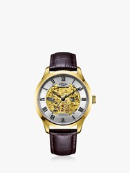 Rotary 'S Greenwich Skeleton Leather Strap Watch Brown Silver Gs02941 03