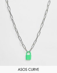 Asos Design Curve Necklace With Colour Padlock And Hardware Chain In Silver Tone