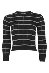 Topshop Petite Stripe Pointelle Crop Top Black