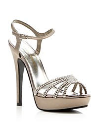 Caparros Belle Metallic Rhinestone Platform High Heel Sandals Mushroom