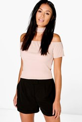 Boohoo Choker Detail Bandage Off The Shoulder Top Stone
