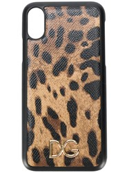 Dolce And Gabbana Leopard Print Iphone X Case Brown