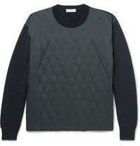 Balenciaga Quilted Shell And Wool Blend Sweater Navy