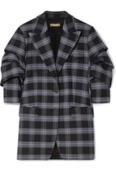 Michael Kors Collection Checked Ruched Wool Blend Twill Blazer Dark Gray