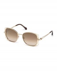 Roberto Cavalli Square Metal Open Inset Sunglasses Rose Gold Pink