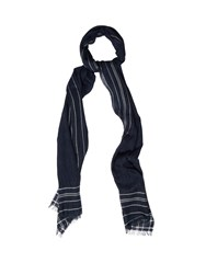 Dunhill Striped Frame Wool Blend Scarf Navy