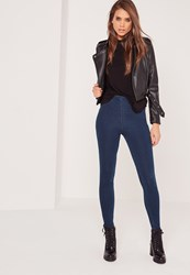 Missguided High Waisted Jeggings Indigo Blue
