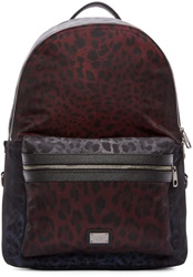 Dolce And Gabbana Grey And Burgundy Leopard Print Backpack