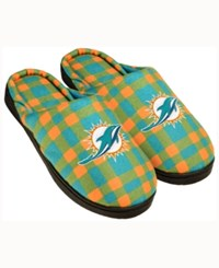 Forever Collectibles Miami Dolphins Flannel Slide Slippers Teal