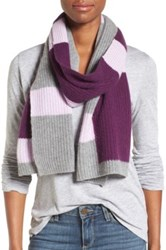 Halogen Colorblock Knit Cashmere Scarf Purple