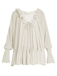 See By Chloe Ruffle Trimmed Gauze Jersey Blouse Cream
