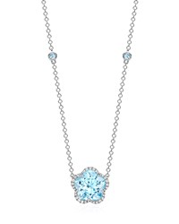 Grace Flower Blue Topaz And Diamond Necklace Kiki Mcdonough Black