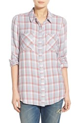 Women's Treasure And Bond 'Long And Lean' Plaid Shirt Red Sauce Nickel Gingham