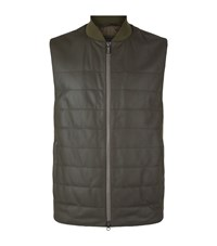Z Zegna Leather Front Quilted Gilet Male Green