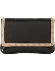 Dune Borriss Patent Studded Clutch Bag Black Leather