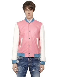 Dsquared Color Block Nappa Leather Bomber Jacket Pink White