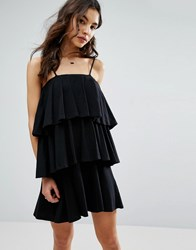Asos Tiered Strappy Sundress Black