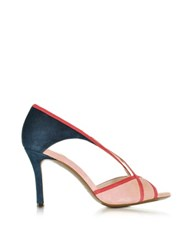L'autre Chose Midnight Blue Red And Pink Suede Mid Heel Sandal