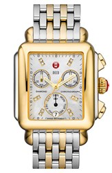 Women's Michele 'Deco' Diamond Dial Two Tone Watch Case 33Mm X 35Mm Gold Silver