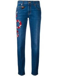 Gucci Embroidered Kingsnake Jeans Blue