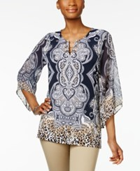 Jm Collection Printed Toggle Tunic Only At Macy's Blue Del Ray