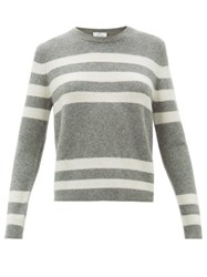 Allude Striped Cashmere Blend Sweater Grey Multi