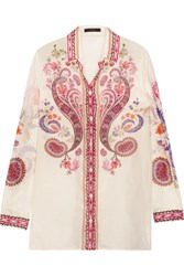 Etro Printed Silk And Cotton Blend Shirt White