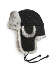 Crown Cap Rabbit Fur Trimmed Aviator Hat Grey