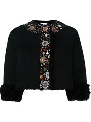 Red Valentino Embroidered Cropped Jacket Black