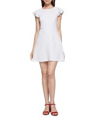 Bcbgeneration Short Sleeve Ruffle Fit And Flare Dress Optic White