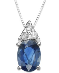 Macy's 14K White Gold Necklace Sapphire 1 1 2 Ct. T.W. And Diamond 1 8 Ct. T.W. Oval Pendant
