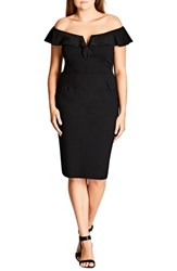 City Chic Plus Size Women's Plunge Frill Sheath Dress Black