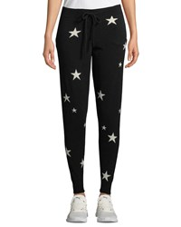 Chinti And Parker Star Intarsia Cashmere Track Pants Black White