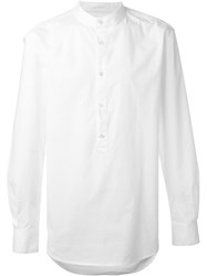 Blk Dnm Band Collar Shirt White