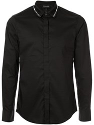 Emporio Armani Branded Collar Shirt Black