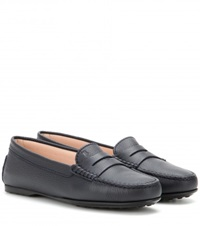 Tod's Gomma Leather Loafers Blue