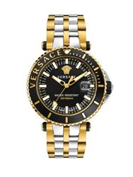 Versace V Race Two Tone Stainless Steel Bracelet Diver Watch