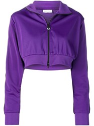 Chiara Ferragni Cropped Eye Sleeve Sweatshirt Purple