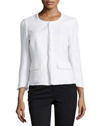 Lafayette 148 New York Tweed Fringe Edge Jacket White
