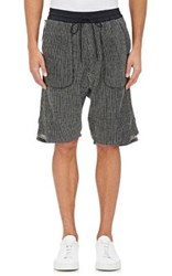 Nlst Men's Waffle Stitched Knit Drop Rise Shorts Black