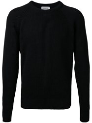 Christophe Lemaire Ribbed Trim Jumper Black